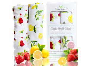 Bamboo Muslin Swaddle Blanket Set - Strawberry Lemonade Collection