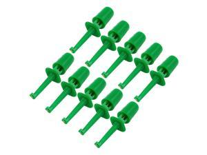 10 x Spring Loaded SMD IC Test Hook Clip Green for Multimeter Lead Cable