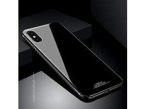 Luxury TPU Metal Frame Bumper Tempered Glass Mirror Back Case Cover for iPhone X