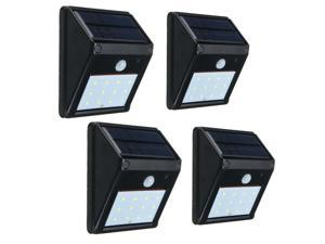4 Pack 12 LED Wireless Waterproof Solar Panel Powered PIR Motion Sensor Activated Auto On/Off Light Security Wall Light Lamp Outdoor Garden Yard Fence Patio Lighting