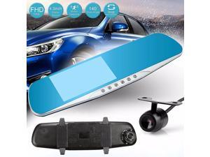 "4.3"" Rear View Blue Mirror Monitor HD 1080P 170 Degree Dual Lens Car DVR Dash Cam G-Sensor Night Vision Wide Angle Camera Video Recorder Backup"