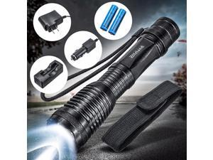 Elfeland Aluminum Alloy 6000 Lumen ZOOMABLE Zoom T6 LED Flashlight Torch Light Lamp 18650 Rechargeable Battery Chargers Holster