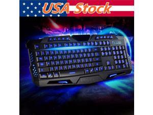 3 colors Crack LED Backlight Multimedia USB Wired Illuminated Gaming Keyboard PC