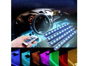 Car RGB LED Strip Light 5050SMD 4pcs LED Strip Lights Colors Styling Decorative Atmosphere Lamps Interior Light With Remote Control