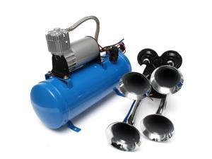 Quad 4 Air Train Horn Semi Truck Car Boat Chrome Horn Trumpet 120 PSI Blue Compressor