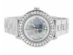 Ladies Breitling Aeromarine Blue Mother of Pearl Colt 33 Diamond Watch (9.5 Ct)