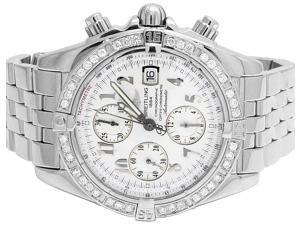 Breitling A13356 Evolution Chronomat White Dial with Diamonds (3 Ct)