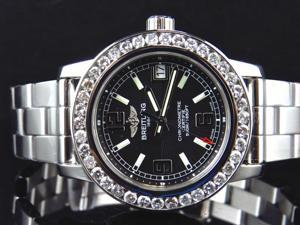Ladies 2.5 Ct Diamond Breitling Aeromarine Colt 33 A77387 Black Dial Watch