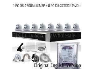 Hikvision DS-7608NI-K2/8P 8Ch 4K NVR Plug & Play DS-2CD2342WD-I 4MP IR Turret Network Camera 4mm Lens Ipcam Pack of 8 English Version