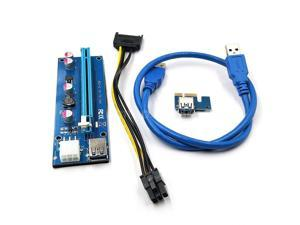 PCI-E 1x to 16x Extension Cable Mining Machine Extender Riser Adapter Card 6Pin Power with USB 3.0