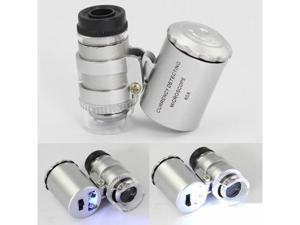 Mini 3 LED 60X Microscope Pocket Currency LED Light Jewelry Magnifier Lens Loupe Glass Light Weight