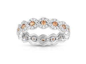 Noray Designs 14K White Gold Champagne & White Diamond (1.00 Ct, Brown, G-H  Color, SI2 Clarity) Eternity Wedding Ring
