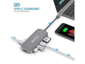 USB C Hub, HooToo USB C Charger USB C to USB 3.1 with Type C 100W Charging Port, HDMI Output, Card Reader, 3 USB 3.0 Ports - Gray