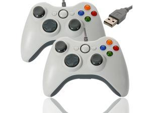 2X USB Wired Game Pad Joypad Controller Like Xbox 360 for Microsoft PC White