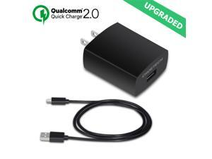 CHOE Qualcomm Quick Charge QC2.0 18W Turbo USB Wall Travel Fast Charger + Cable