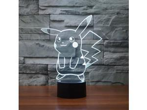 Pokemon Pikachu 3D LED Night Light 7 Colors Change LED Table Lamp Xmas Gift 2017