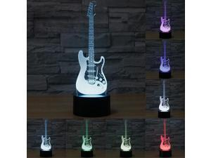 Electric Guitar 3D illusion Night light LED 7 Color Changing Lamp Xmas Gifts NEW