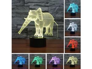 3D Elephant Illusion LED Night Lights Colorful Table Bedroom Party Birthday Lamp