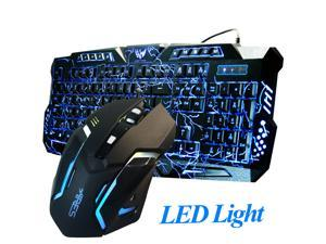 Gaming Combo Set Wired Keyboard and Mouse LED Illuminated Backlight USB Bundle