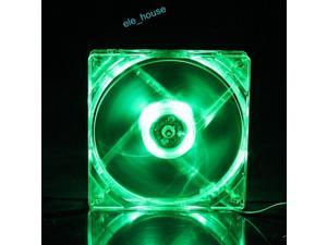 12V 4Pin 8cm 80mm x 80mm x 25mm DC Cooling Fan For Computer Case Green LED