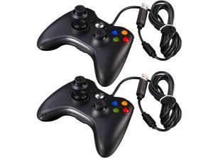 2x Black Wired USB Game Pad Controller For Microsoft Xbox 360 PC Windows New