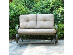 Cloud Mountain Patio Glider Bench Outdoor Cushioed 2 Person Swing Loveseat  Rocking Seating Patio ...