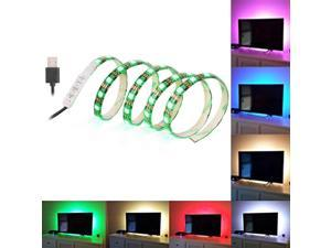 1M 60LEDs TV LED Strip Light USB Port SMD 5050 RGB Color Changing Light Kit Black PCB for Flat Screen/HDTV/LED Desktop/PC Monitor