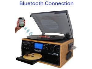 Boytone Bluetooth Record Player Turntable AM/FM Radio/Cassette/CD/MP3/SD/USB/AUX