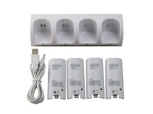 White Charger Dock Station + 4 Battery Packs for Nintendo Wii Remote Controller