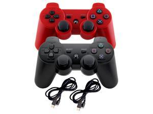 2 PS3 Controller Wireless Bluetooth Six Axis Controllers Gamepad for PlayStation 3 Dualshock 3 with Charging Cable (Bundle of Two)