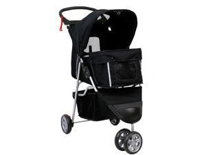 Kinbor Pet Stroller Cat Dog Cage 3 Wheels Walk Stroller Travel Folding Carrier, Black