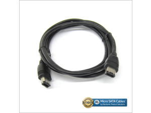 Firewire IEEE 1394 Cable 6 Pin Male to 6 Pin Male - 6 Feet, Black