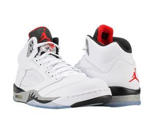 Nike Air Jordan 5 Retro White/Red-Black Cement Men's Basketball Shoes ...