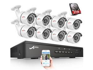 ANRAN 1080 PoE 8CH Security Camera System 3TB Hard Drive with 8 in/Outdoor 1920x1080 Surveillance Cameras 36IR Leds 100ft Night Vision, 8CH 1080P H.264 PoE NVR Kit, Plug and Play Smart Email Alert
