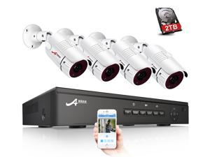 ANRAN 2MP 1920 x 1080P Full PoE IP Camera Security System, 4 Channel H.264 NVR w/ 1080P Output, 4 x 2MP Full HD (1980 x 1080) In/Outdoor IP Cameras, Onvif IP66 Outdoor Home Security Motion Detecting