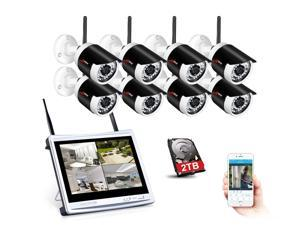 ANRAN 8CH Security Camera System 1080P Wireless NVR 12 inch LCD Screen Monitor 2TB HDD, 8 X 1.3MP 1280*960 H.264 IP66 Outdoor Bullet IR-Cut Home Security IP Cameras, Email Alert Smart Remote Access