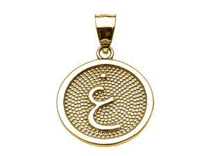 "Yellow Gold Arabic Letter ""ghayn"" Initial Charm Pendant"
