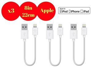 Hercules Tuff 3-Pack Short Apple Lightning USB Cable for Powerbank, Charging Station 22cm  #47; 8 In