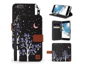 For ZTE Blade Z Max Sequoia Zmax Pro2 Flip Folio Wallet Case Purple Night