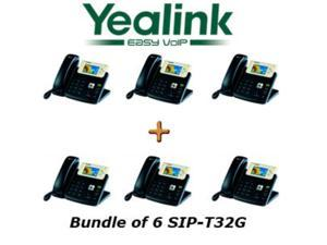 Yealink SIP-T32G Bundle of 6 Gigabit Color VoIP Phone No Power Supply