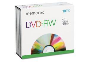 Dvd-Rw Discs, 4.7Gb, 4X, W/Slim Jewel Cases, Silver, 10/Pack