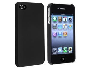 eForCity Snap-On Rubber Coated Case Compatible With Apple iPhone 4 / 4S, Black