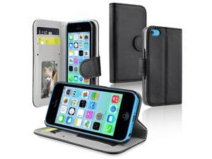 Apple iPhone 5C Stand Wallet Leather Case w/Crd Hldr, Black