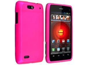 Snap-on Rubber Coated Case compatible with Motorola Droid 4 XT894, Hot Pink