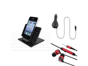 3-in-1 eForCity Holder Stand + Red Headset Compatible with Samsung© Galaxy S3 S4 i9500 Note 2 N7100
