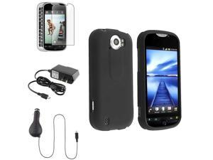eForCity Black Phone Case+Retract Car+Home Charger+LCD Compatible with HTC T-Mobile myTouch 4G Slide
