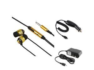 Samsung© Epic 4G / Galaxy S Pro combo Stereo Headset w/ On-off & Mic, Gold / Black + Charger combo compatible with Samsung© ...
