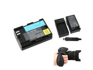 eForCity Black Premium Compact Battery Charger Set + Black Canon LP-E6 Compatible Li-Ion Battery + Black Camera Hand Strap ...