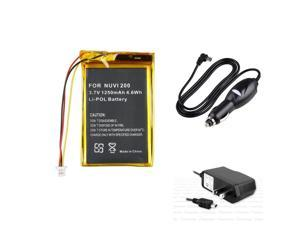 eForCity Silver/Yellow Compatible Li-ion Battery + Black Car Charger (Mini USB) + Black Travel Charger Bundle For Garmin ...