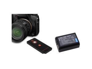 eForCity Black IR Remote Control + 2X Black Li-Ion Battery Bundle Compatible With Sony Alpha NEX-5, SLT-A33, SLT-A55